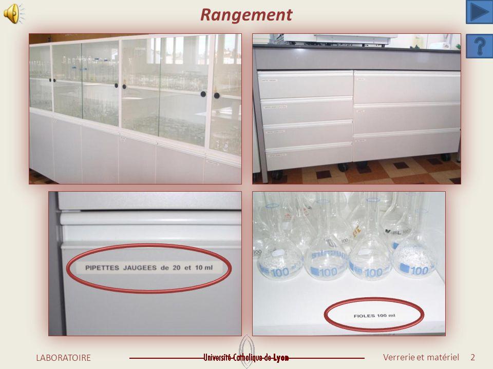 Verrerie et matériel 1 LABORATOIRE Rangement Verrerie Matériel à usage courant Equipement du laboratoire Matériel spécifique