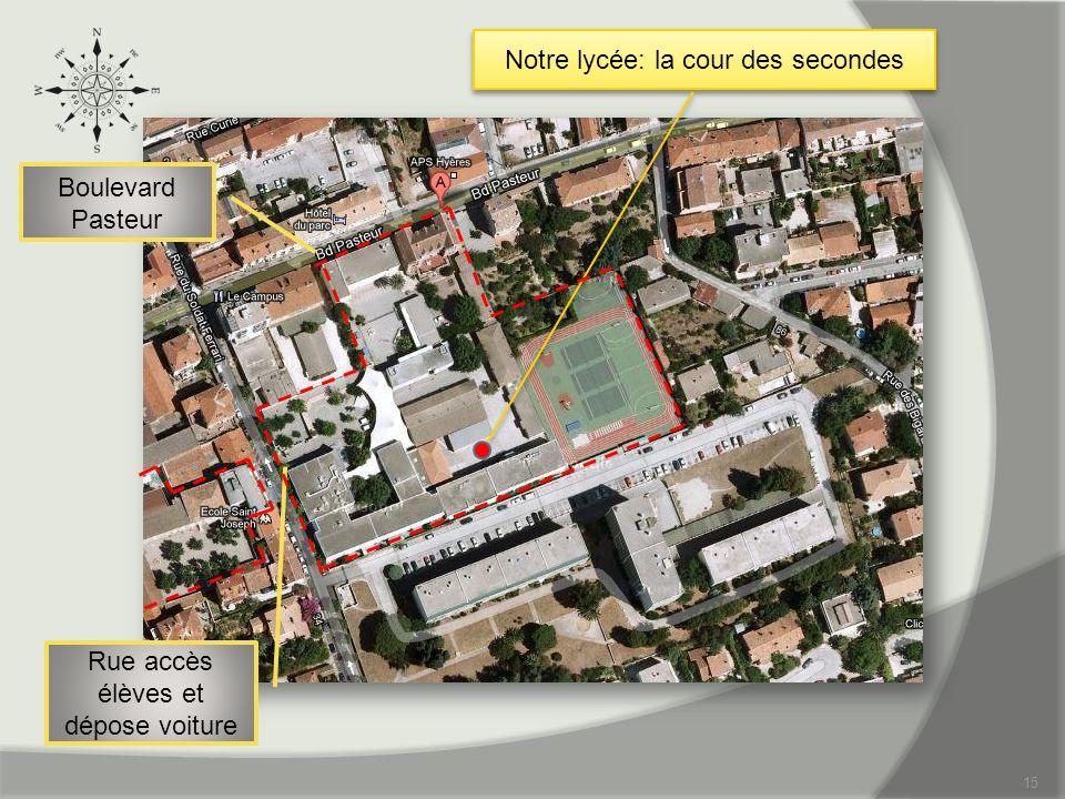 15 Notre lycée: la cour des secondes Boulevard Pasteur Rue accès élèves et dépose voiture