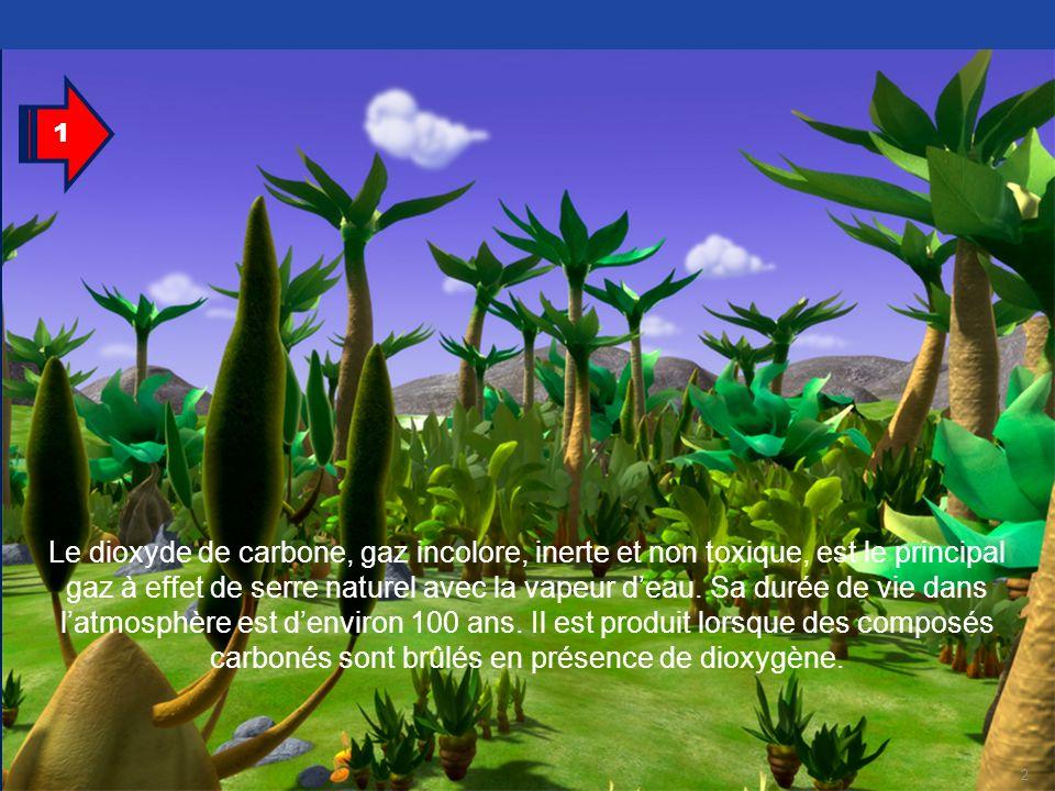 2 Le dioxyde de carbone, gaz incolore, inerte et non toxique, est le principal gaz à effet de serre naturel avec la vapeur deau. Sa durée de vie dans