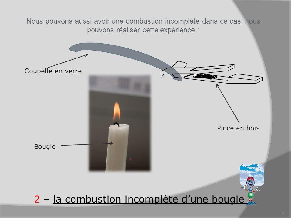 6 2 – la combustion incomplète dune bougie Nous pouvons aussi avoir une combustion incomplète dans ce cas, nous pouvons réaliser cette expérience : Pi