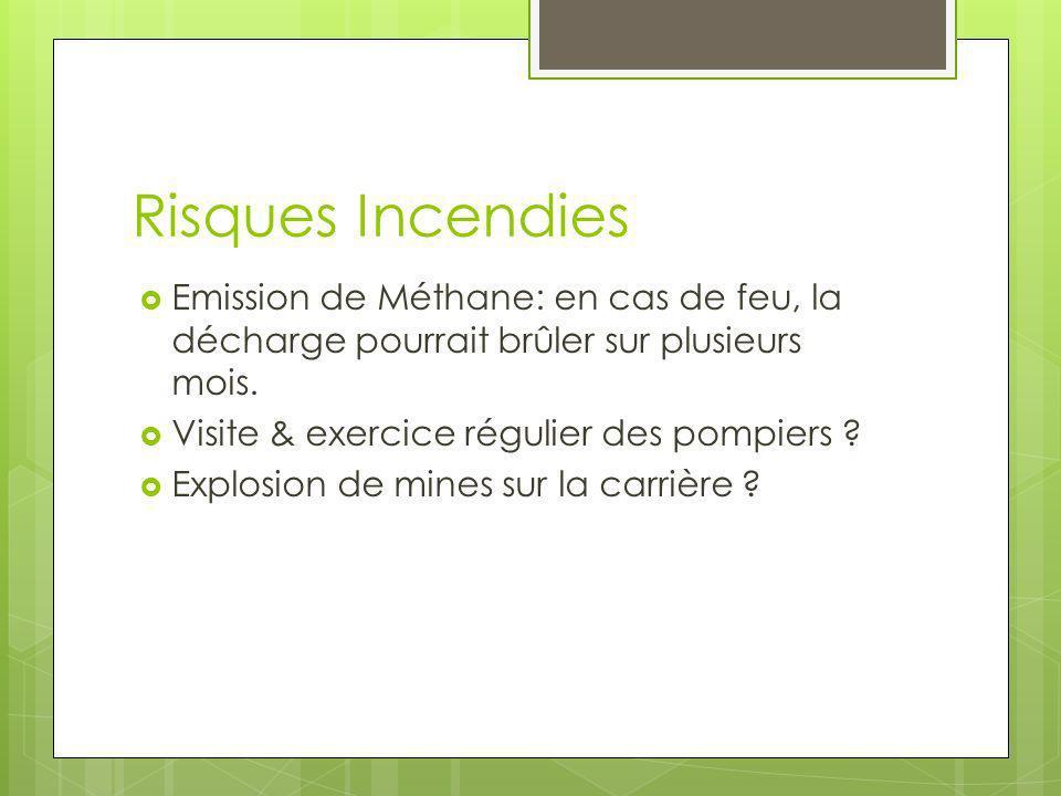 Emission de Méthane: en cas de feu, la décharge pourrait brûler sur plusieurs mois. Visite & exercice régulier des pompiers ? Explosion de mines sur l