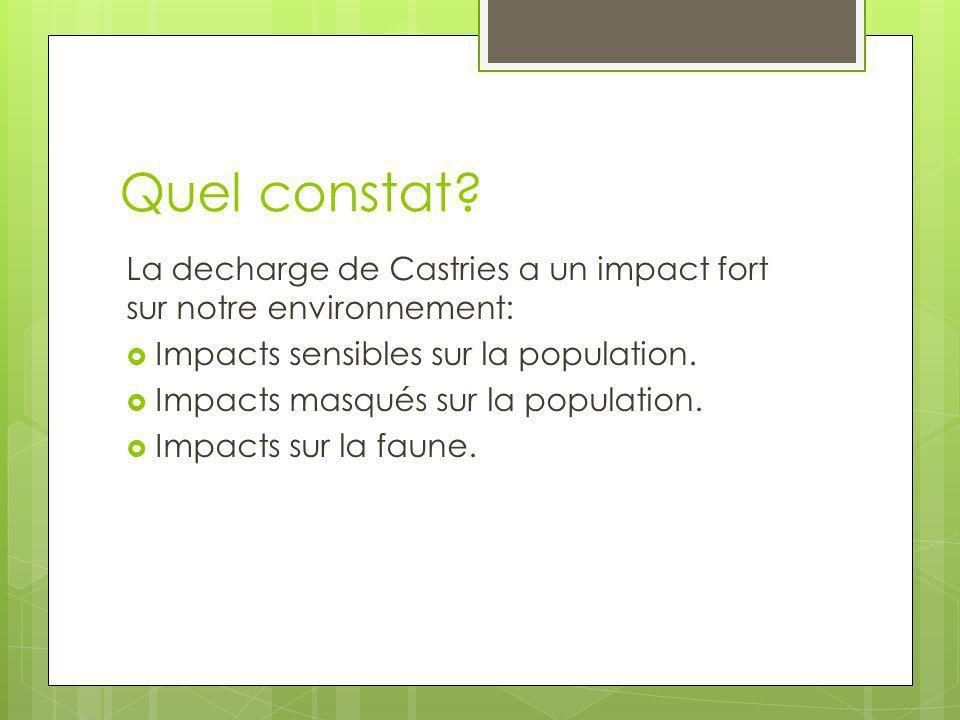 Quel constat? La decharge de Castries a un impact fort sur notre environnement: Impacts sensibles sur la population. Impacts masqués sur la population