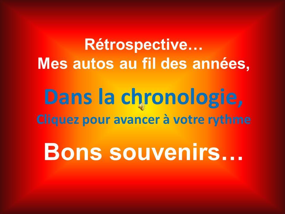 Rétrospective… Mes autos au fil des années, Dans la chronologie, Cliquez pour avancer à votre rythme Bons souvenirs…