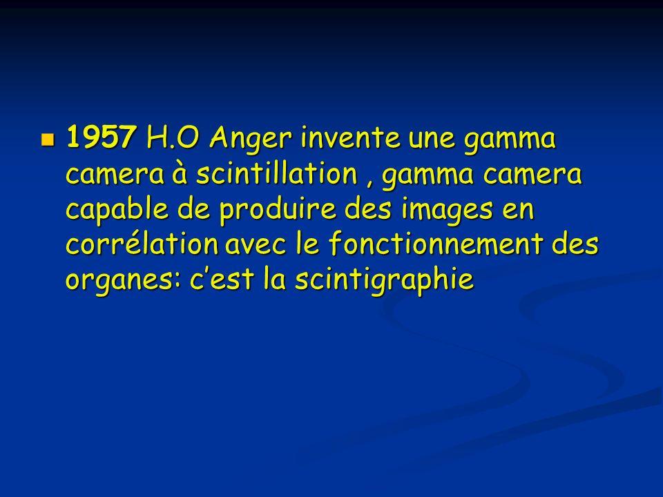 1957 H.O Anger invente une gamma camera à scintillation, gamma camera capable de produire des images en corrélation avec le fonctionnement des organes