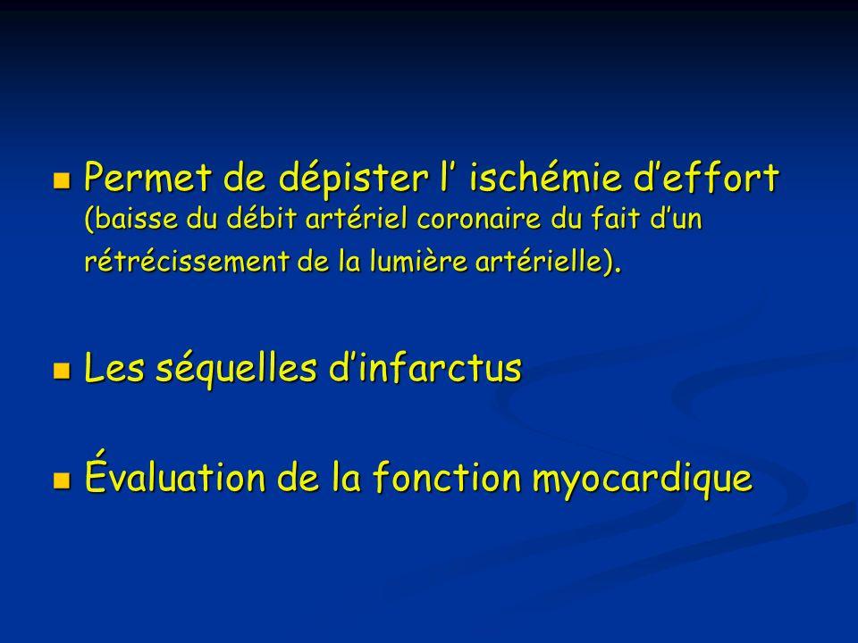 Permet de dépister l ischémie deffort (baisse du débit artériel coronaire du fait dun rétrécissement de la lumière artérielle). Permet de dépister l i