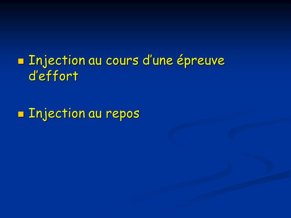 Injection au cours dune épreuve deffort Injection au cours dune épreuve deffort Injection au repos Injection au repos