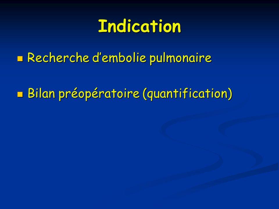 Indication Recherche dembolie pulmonaire Recherche dembolie pulmonaire Bilan préopératoire (quantification) Bilan préopératoire (quantification)