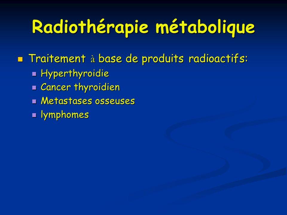 Radiothérapie métabolique Traitement à base de produits radioactifs: Hyperthyroidie Cancer thyroidien Metastases osseuses lymphomes