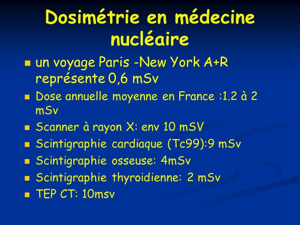 Dosimétrie en médecine nucléaire un voyage Paris -New York A+R représente 0,6 mSv Dose annuelle moyenne en France :1.2 à 2 mSv Scanner à rayon X: env
