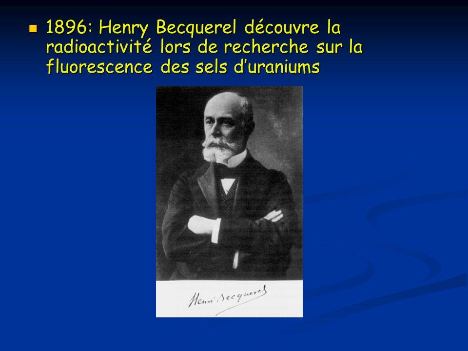1896: Henry Becquerel découvre la radioactivité lors de recherche sur la fluorescence des sels duraniums 1896: Henry Becquerel découvre la radioactivi