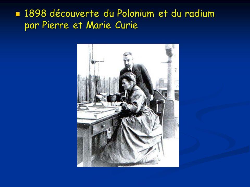 1898 découverte du Polonium et du radium par Pierre et Marie Curie 1898 découverte du Polonium et du radium par Pierre et Marie Curie