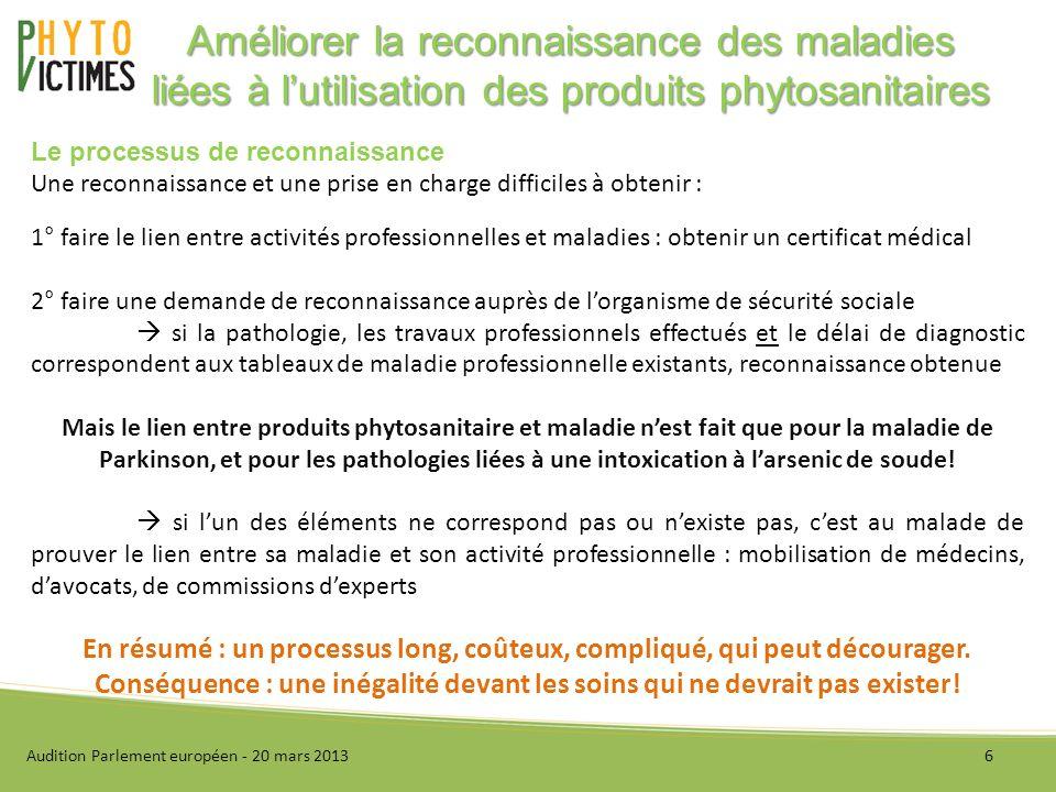 Audition Parlement européen - 20 mars 20137 Améliorer la reconnaissance des maladies liées à lutilisation des produits phytosanitaires Pourquoi la reconnaissance.