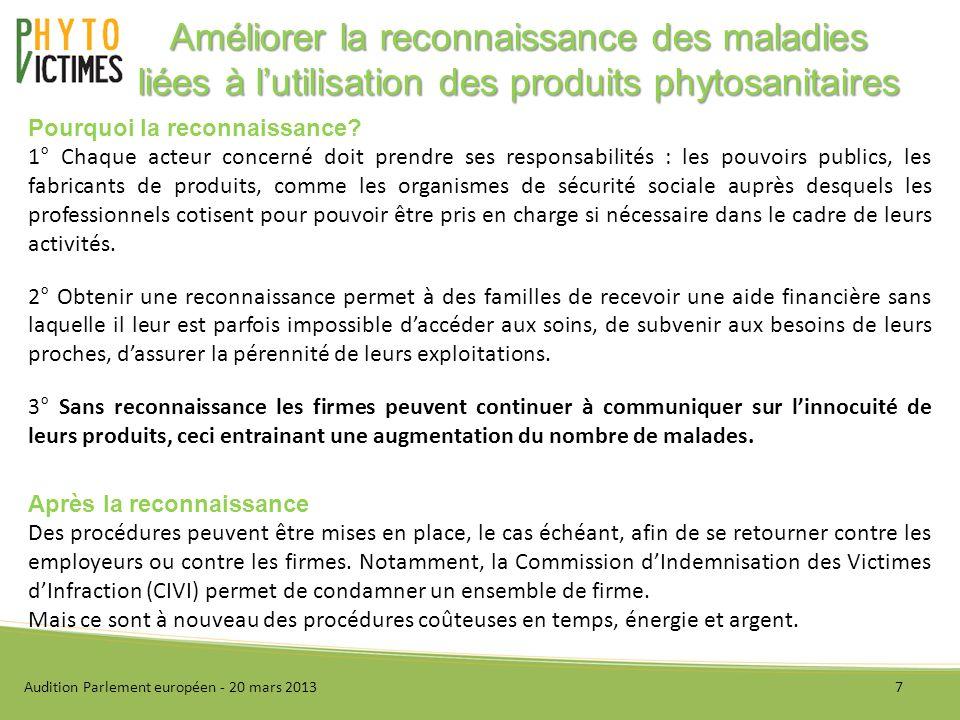 I - Présentation de lassociation II - Améliorer la reconnaissance des maladies liées à lutilisation des produits phytosanitaires III - Améliorer le suivi des produits phytosanitaires IV - Conclusion Audition Parlement européen - 20 mars 20138 Sommaire