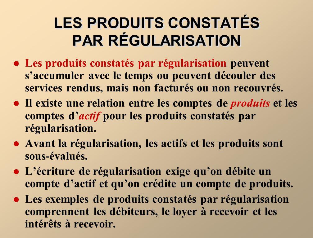 LES CHARGES À PAYER ET LES PRODUITS À RECEVOIR Les charges à payer et les produits à recevoir constituent un autre type décritures de régularisation.