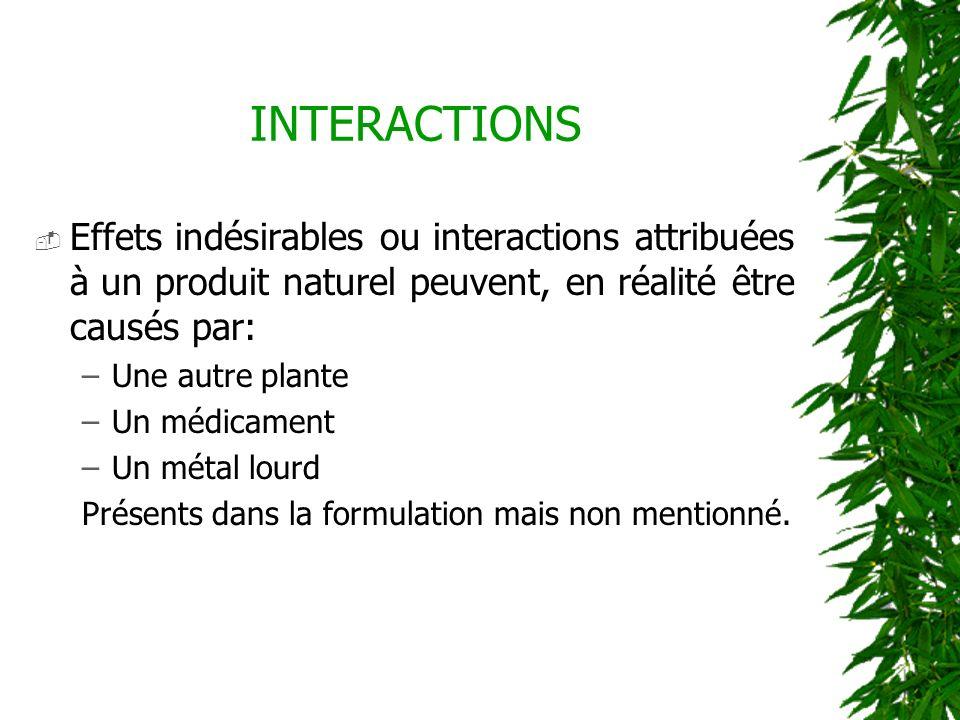Effets indésirables ou interactions attribuées à un produit naturel peuvent, en réalité être causés par: –Une autre plante –Un médicament –Un métal lo