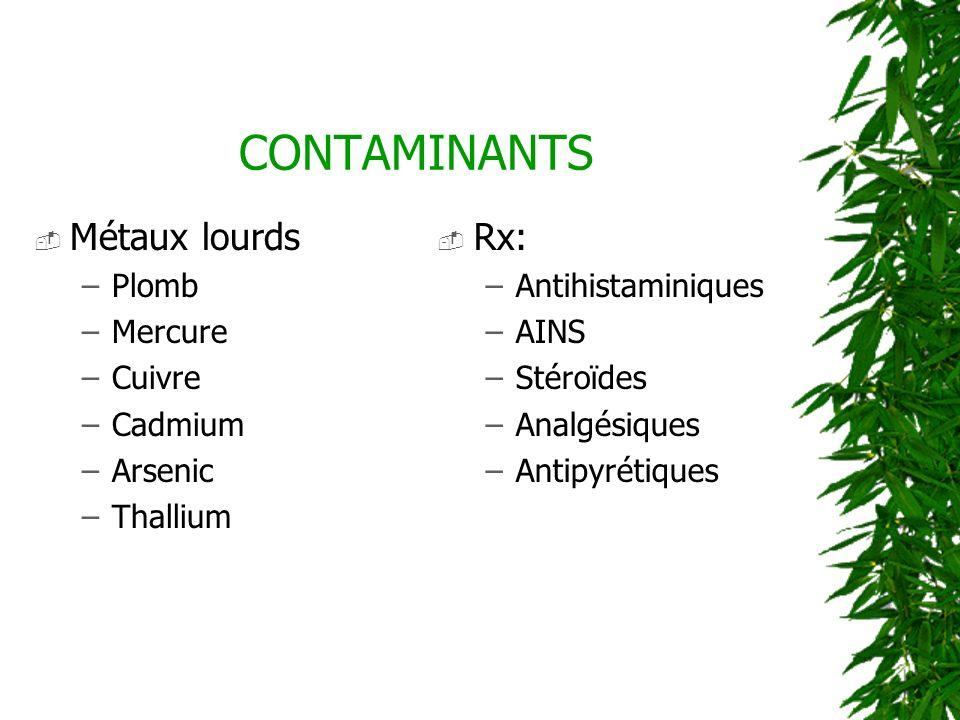 CONTAMINANTS Métaux lourds –Plomb –Mercure –Cuivre –Cadmium –Arsenic –Thallium Rx: –Antihistaminiques –AINS –Stéroïdes –Analgésiques –Antipyrétiques