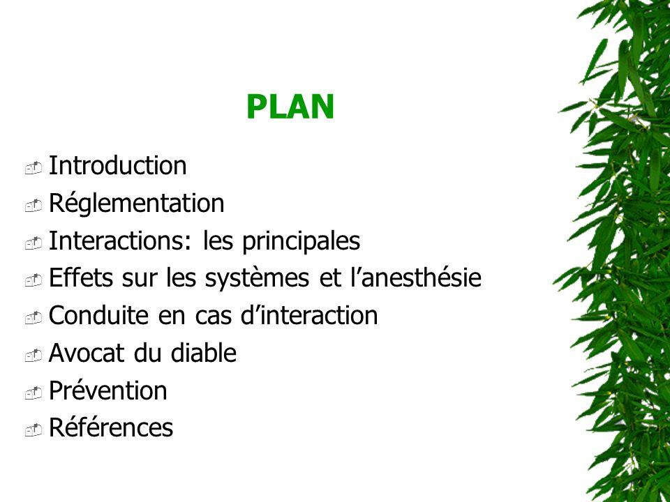PLAN Introduction Réglementation Interactions: les principales Effets sur les systèmes et lanesthésie Conduite en cas dinteraction Avocat du diable Pr