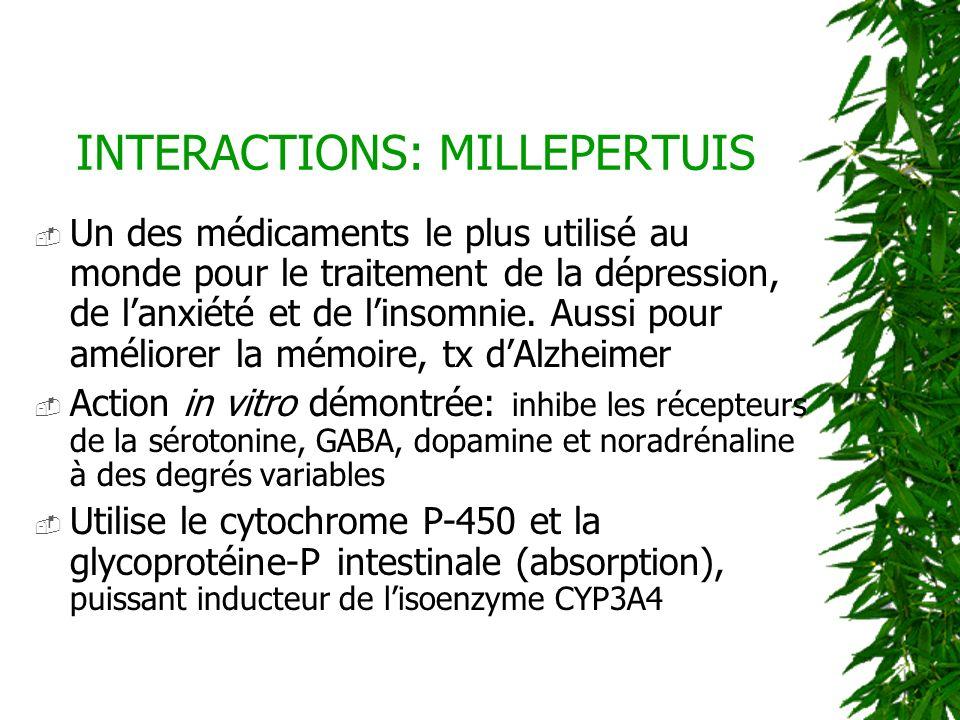INTERACTIONS: MILLEPERTUIS Un des médicaments le plus utilisé au monde pour le traitement de la dépression, de lanxiété et de linsomnie. Aussi pour am