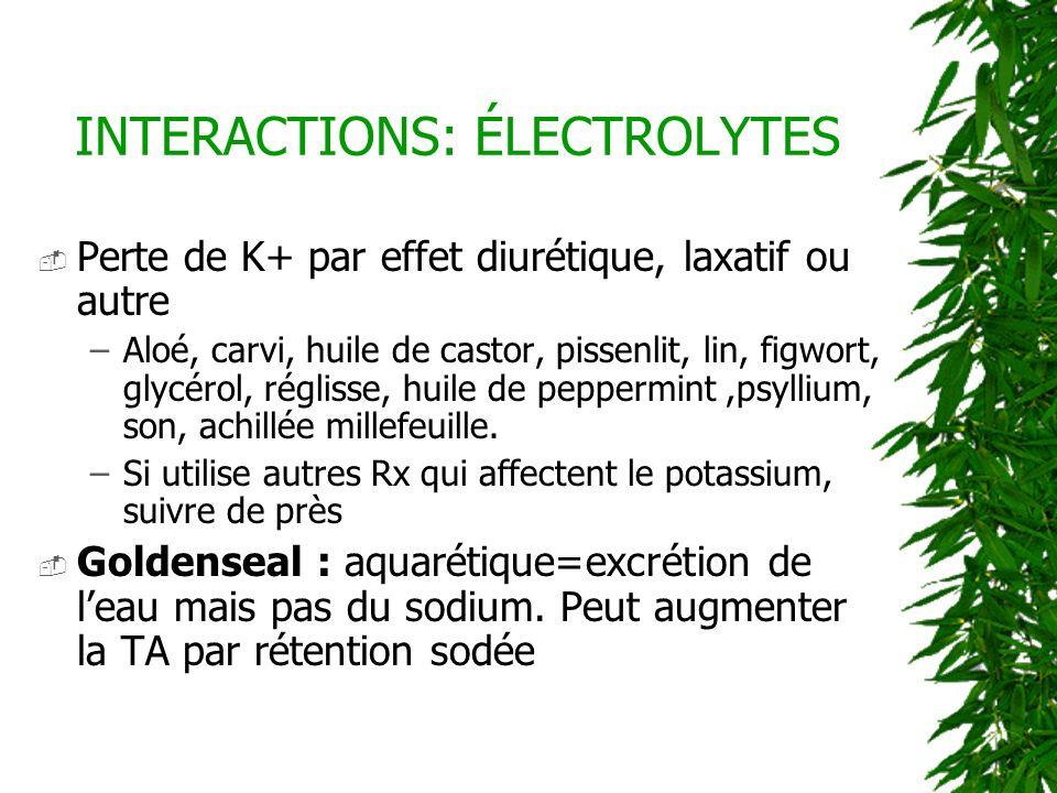 Perte de K+ par effet diurétique, laxatif ou autre –Aloé, carvi, huile de castor, pissenlit, lin, figwort, glycérol, réglisse, huile de peppermint,psy