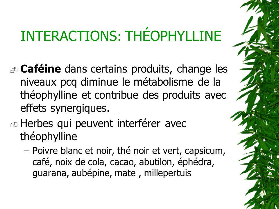Caféine dans certains produits, change les niveaux pcq diminue le métabolisme de la théophylline et contribue des produits avec effets synergiques. He