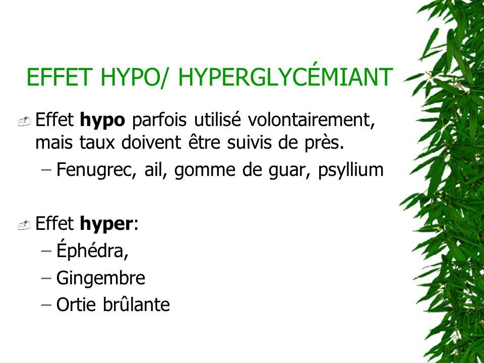 EFFET HYPO/ HYPERGLYCÉMIANT Effet hypo parfois utilisé volontairement, mais taux doivent être suivis de près. –Fenugrec, ail, gomme de guar, psyllium