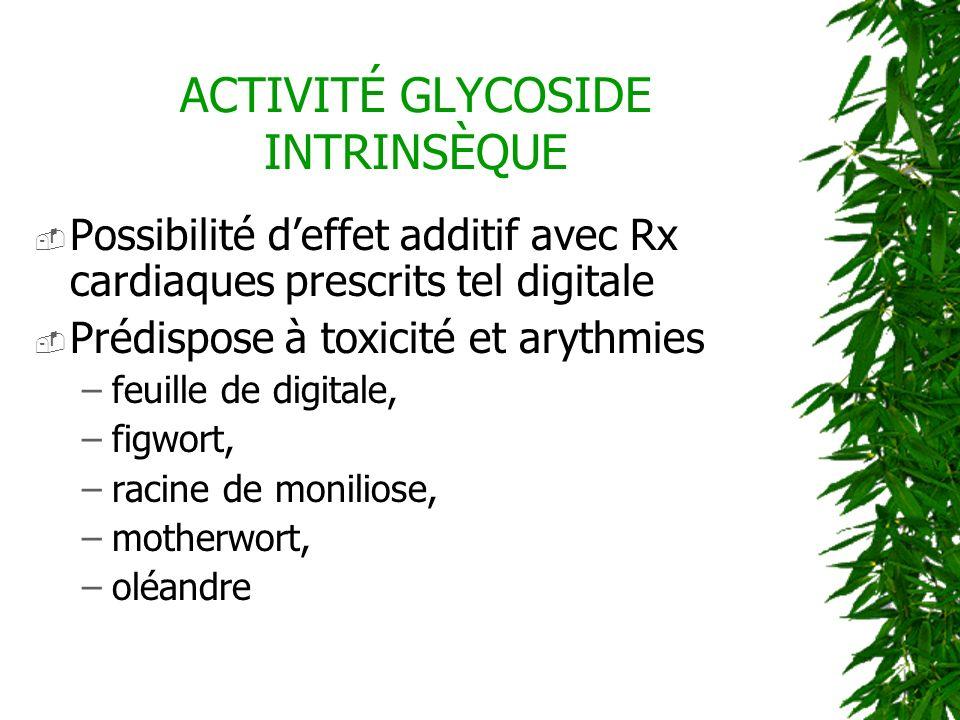 ACTIVITÉ GLYCOSIDE INTRINSÈQUE Possibilité deffet additif avec Rx cardiaques prescrits tel digitale Prédispose à toxicité et arythmies –feuille de dig