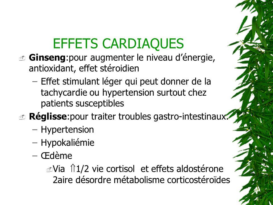 EFFETS CARDIAQUES Ginseng:pour augmenter le niveau dénergie, antioxidant, effet stéroidien –Effet stimulant léger qui peut donner de la tachycardie ou