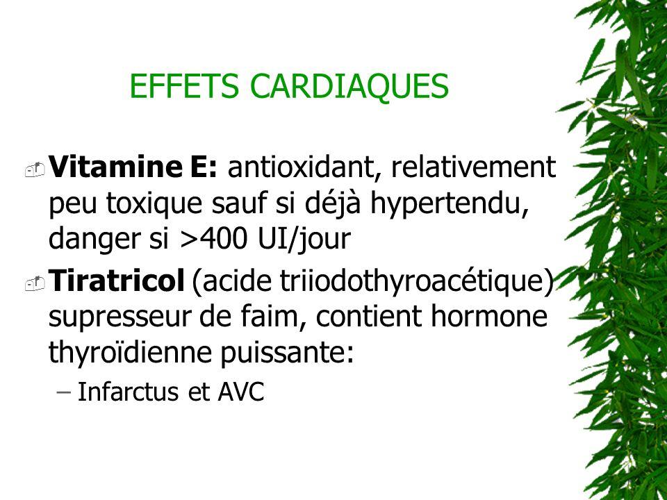 Vitamine E: antioxidant, relativement peu toxique sauf si déjà hypertendu, danger si >400 UI/jour Tiratricol (acide triiodothyroacétique) supresseur d