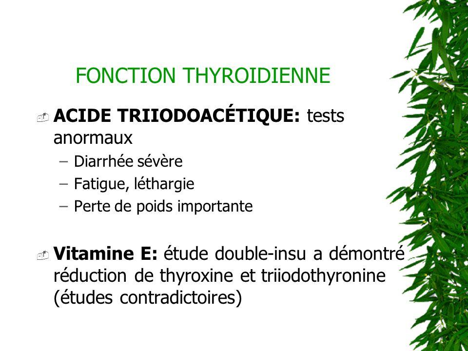FONCTION THYROIDIENNE ACIDE TRIIODOACÉTIQUE: tests anormaux –Diarrhée sévère –Fatigue, léthargie –Perte de poids importante Vitamine E: étude double-i
