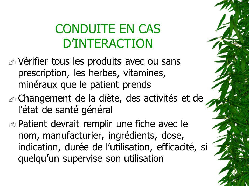 CONDUITE EN CAS DINTERACTION Vérifier tous les produits avec ou sans prescription, les herbes, vitamines, minéraux que le patient prends Changement de