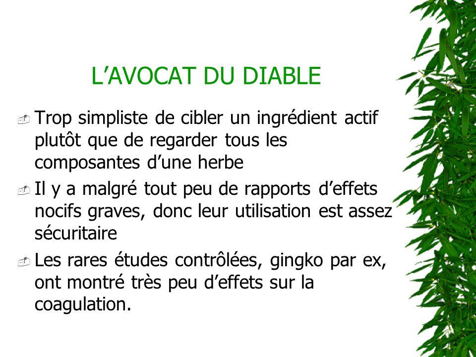 LAVOCAT DU DIABLE Trop simpliste de cibler un ingrédient actif plutôt que de regarder tous les composantes dune herbe Il y a malgré tout peu de rappor