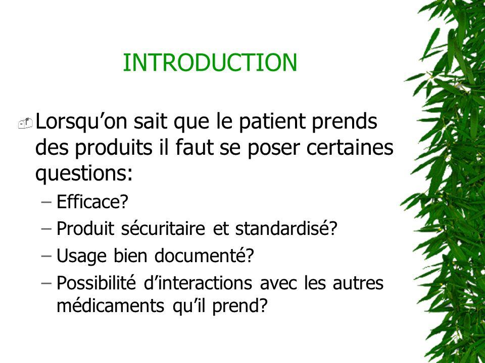 Lorsquon sait que le patient prends des produits il faut se poser certaines questions: –Efficace? –Produit sécuritaire et standardisé? –Usage bien doc