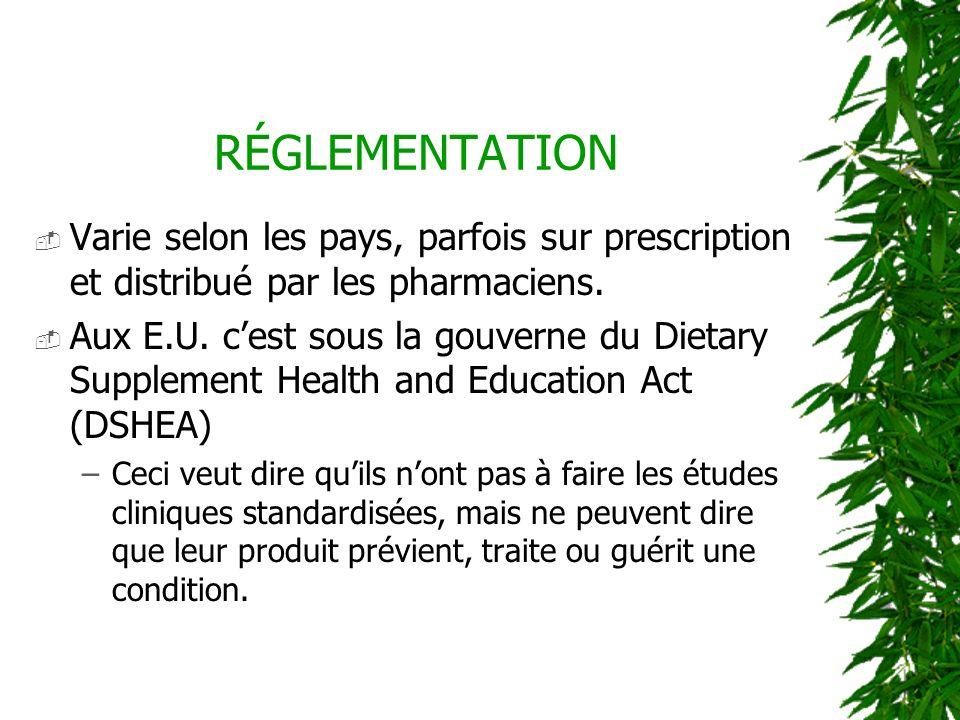 RÉGLEMENTATION Varie selon les pays, parfois sur prescription et distribué par les pharmaciens. Aux E.U. cest sous la gouverne du Dietary Supplement H