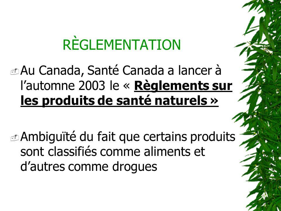 RÈGLEMENTATION Au Canada, Santé Canada a lancer à lautomne 2003 le « Règlements sur les produits de santé naturels » Ambiguïté du fait que certains pr