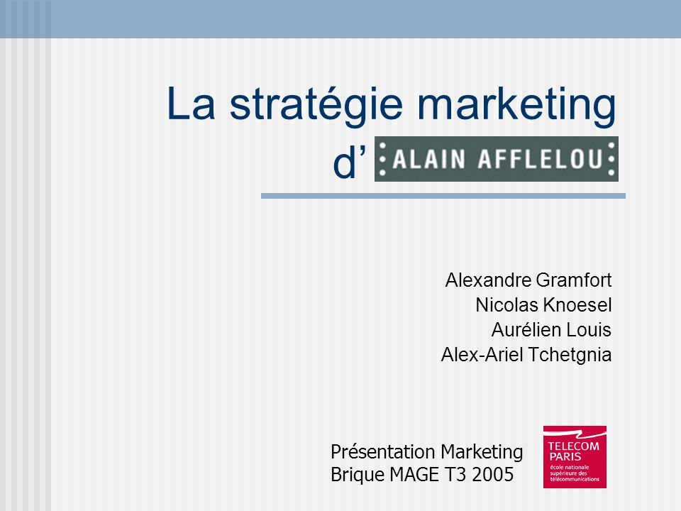 Plan Introduction: Lentreprise Alain Afflelou.