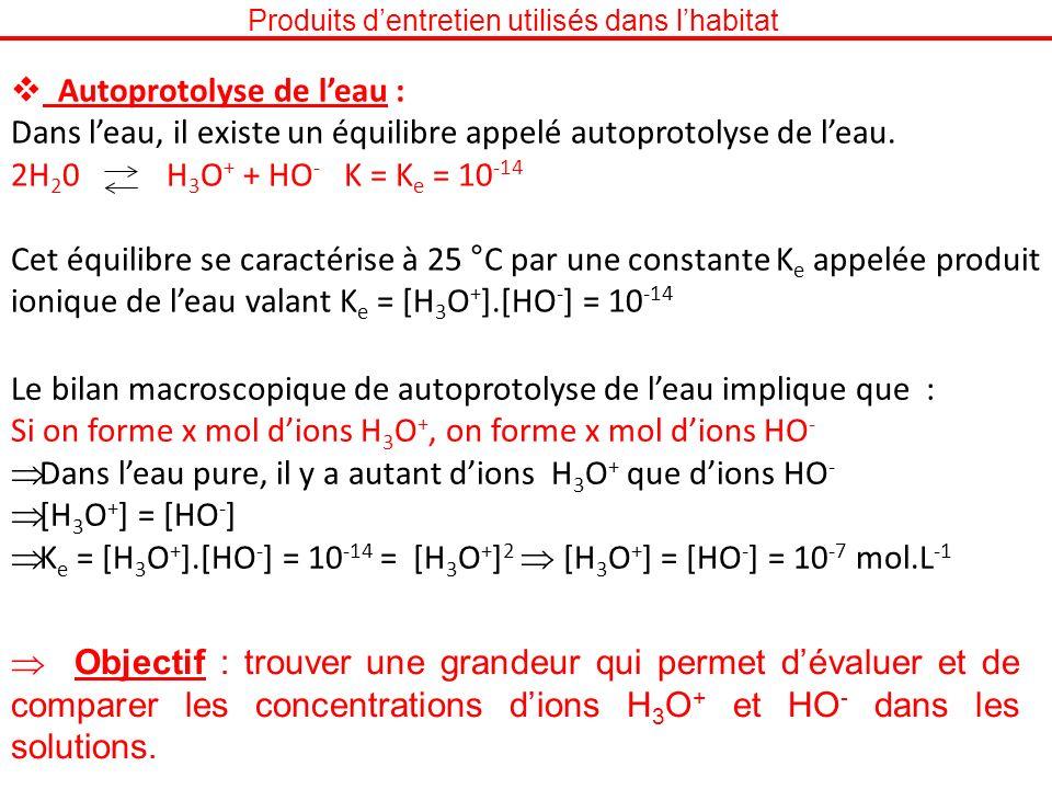 Produits dentretien utilisés dans lhabitat Autoprotolyse de leau : Dans leau, il existe un équilibre appelé autoprotolyse de leau. 2H 2 0 H 3 O + + HO