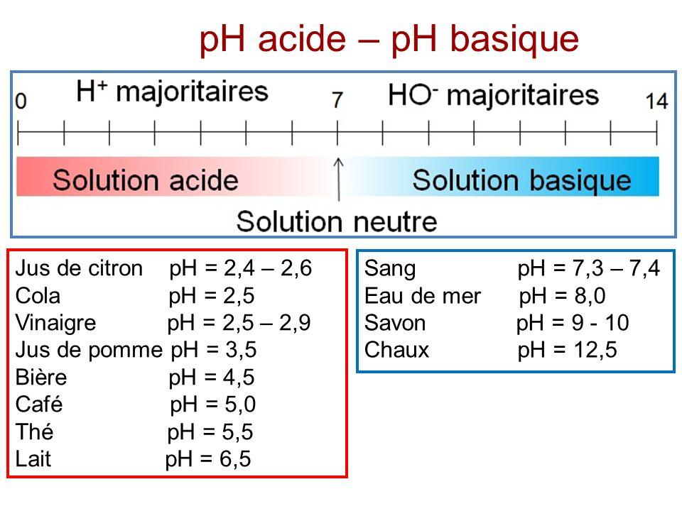 pH acide – pH basique Jus de citron pH = 2,4 – 2,6 Cola pH = 2,5 Vinaigre pH = 2,5 – 2,9 Jus de pomme pH = 3,5 Bière pH = 4,5 Café pH = 5,0 Thé pH = 5