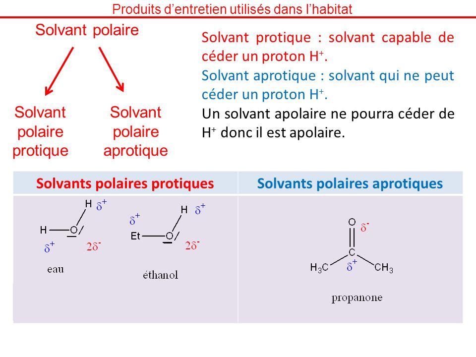 Produits dentretien utilisés dans lhabitat Solvant polaire protique Solvant polaire aprotique Solvant protique : solvant capable de céder un proton H