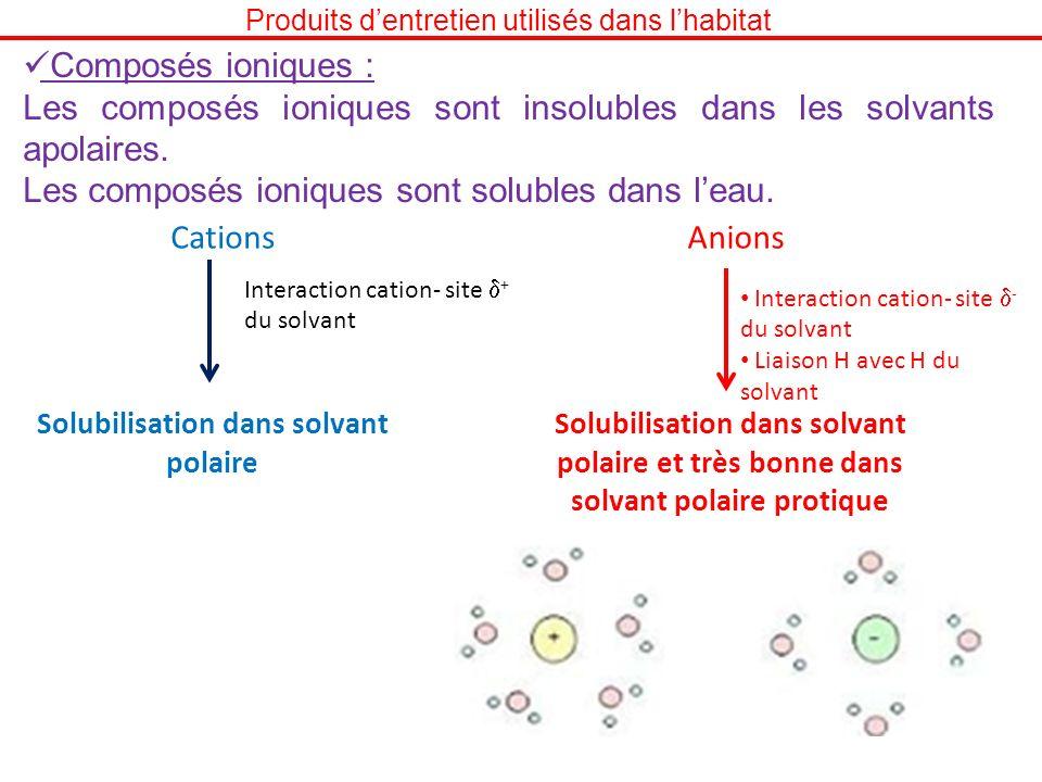 Produits dentretien utilisés dans lhabitat Composés ioniques : Les composés ioniques sont insolubles dans les solvants apolaires. Les composés ionique