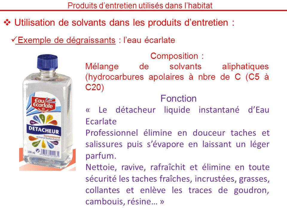 Produits dentretien utilisés dans lhabitat Exemple de dégraissants : leau écarlate Utilisation de solvants dans les produits dentretien : Composition