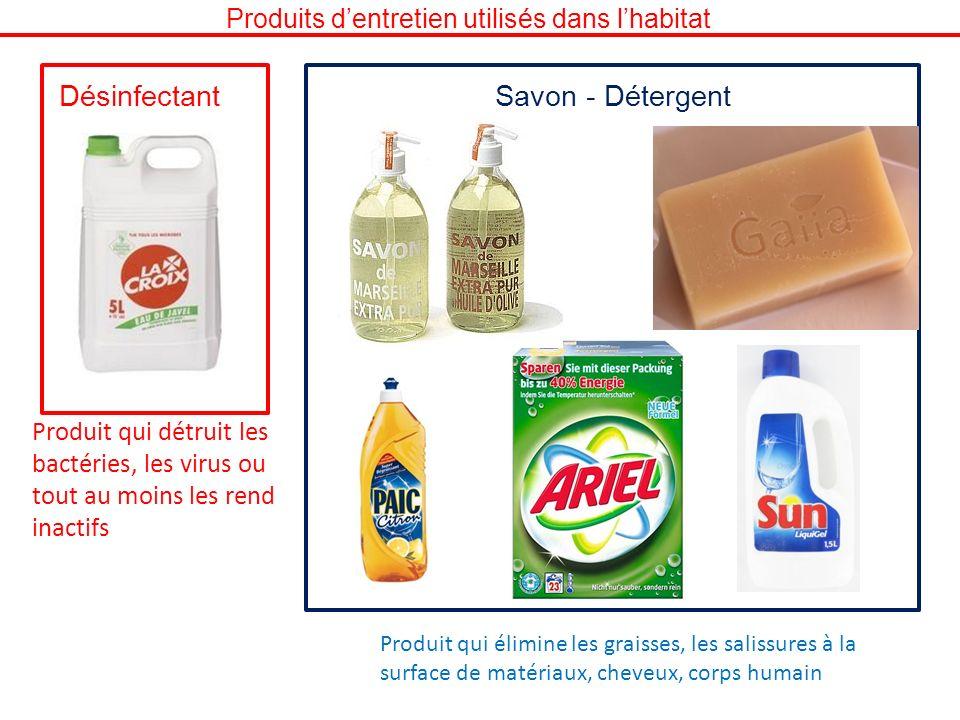 DésinfectantSavon - Détergent Produit qui détruit les bactéries, les virus ou tout au moins les rend inactifs Produit qui élimine les graisses, les sa