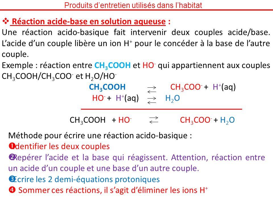Produits dentretien utilisés dans lhabitat Réaction acide-base en solution aqueuse : Une réaction acido-basique fait intervenir deux couples acide/bas