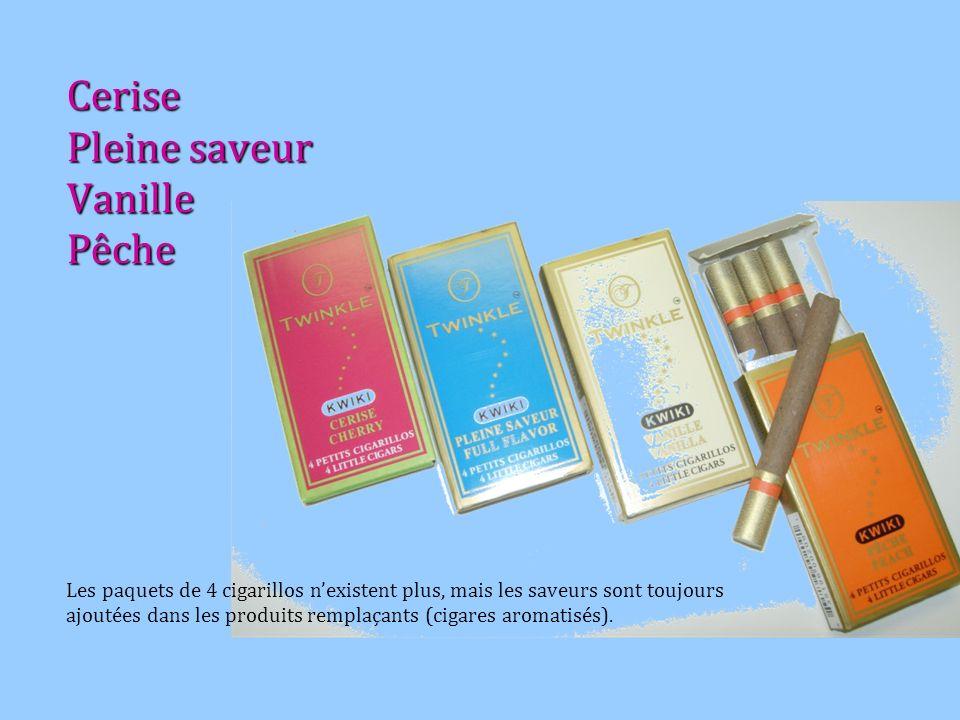 Cerise Pleine saveur Vanille Pêche Les paquets de 4 cigarillos nexistent plus, mais les saveurs sont toujours ajoutées dans les produits remplaçants (