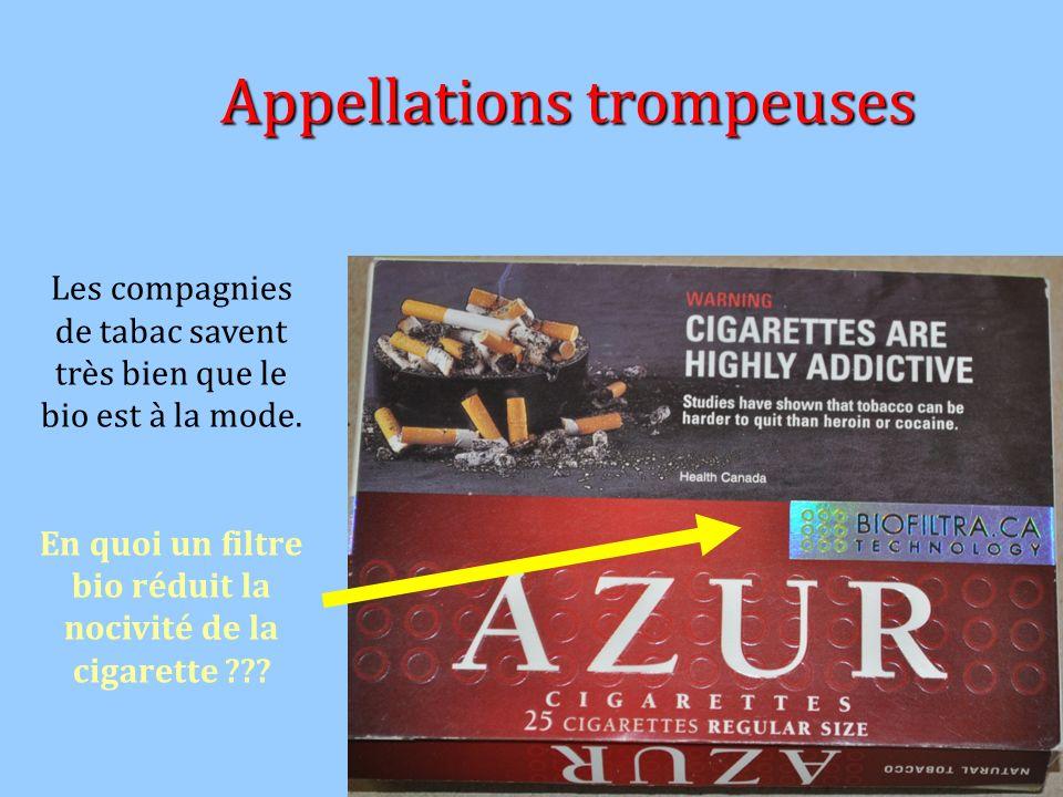 Appellations trompeuses Les compagnies de tabac savent très bien que le bio est à la mode. En quoi un filtre bio réduit la nocivité de la cigarette ??