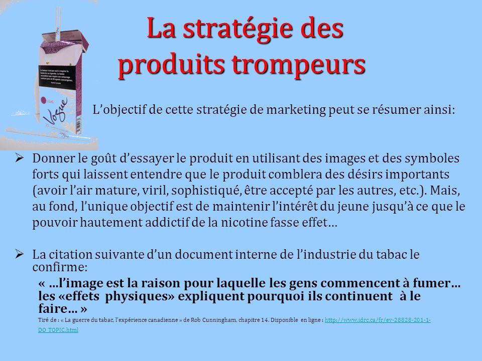 La stratégie des produits trompeurs La stratégie des produits trompeurs Lobjectif de cette stratégie de marketing peut se résumer ainsi: Donner le goû