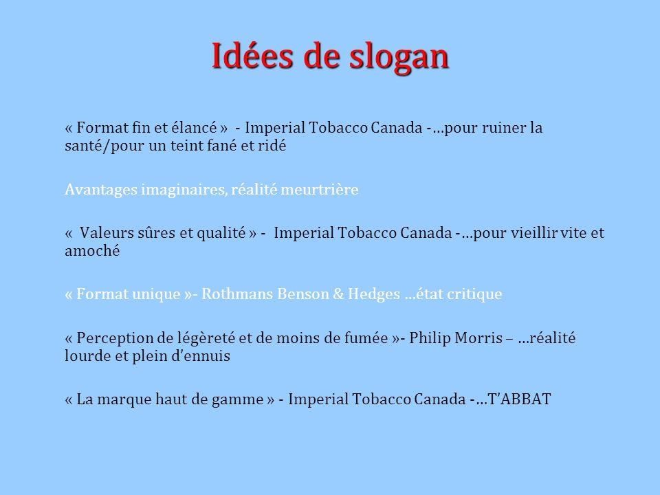 Idées de slogan « Format fin et élancé » - Imperial Tobacco Canada -…pour ruiner la santé/pour un teint fané et ridé Avantages imaginaires, réalité me