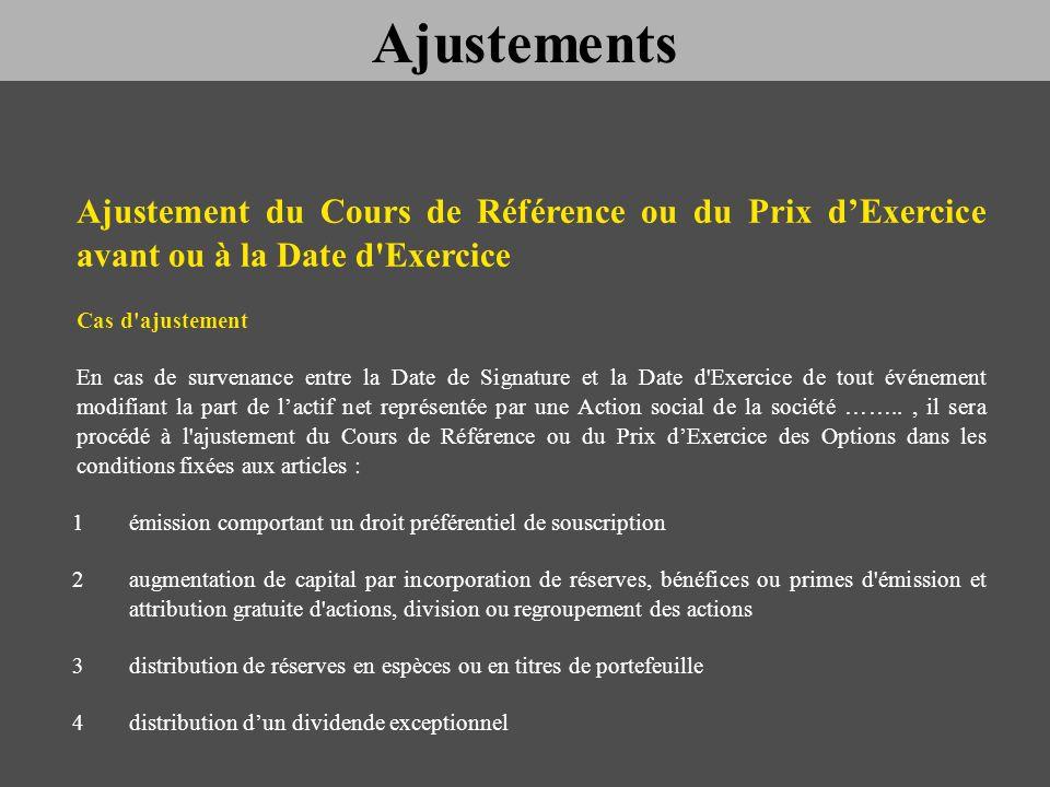 Ajustement du Cours de Référence ou du Prix dExercice avant ou à la Date d'Exercice Cas d'ajustement En cas de survenance entre la Date de Signature e