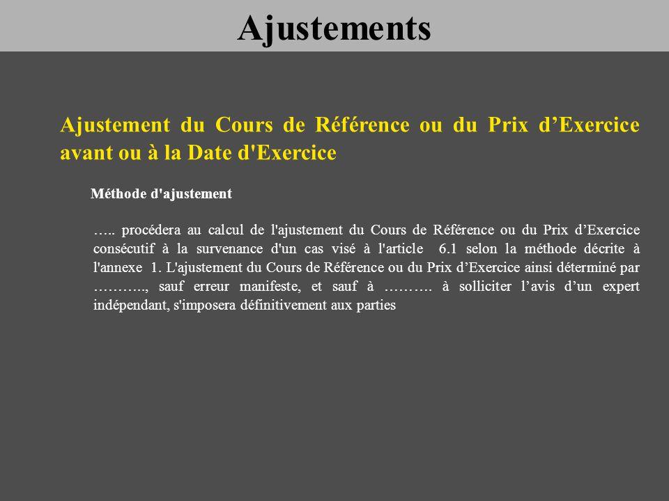 Ajustement du Cours de Référence ou du Prix dExercice avant ou à la Date d'Exercice Méthode d'ajustement ….. procédera au calcul de l'ajustement du Co