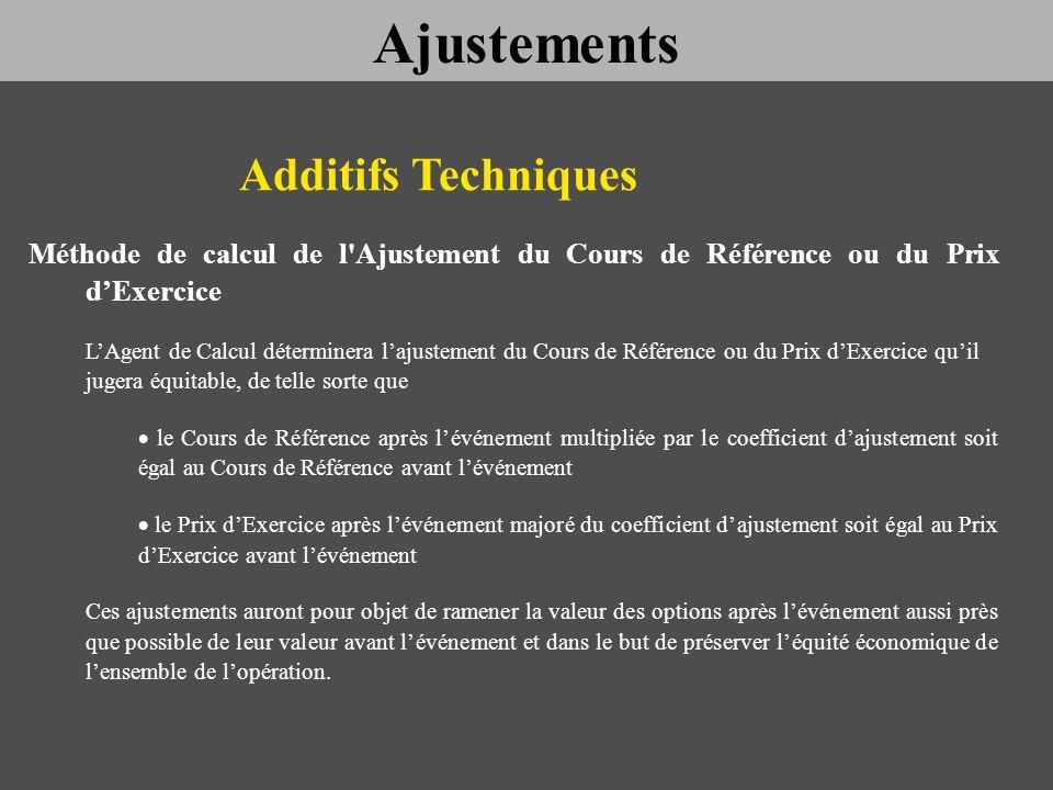 Additifs Techniques Méthode de calcul de l'Ajustement du Cours de Référence ou du Prix dExercice LAgent de Calcul déterminera lajustement du Cours de