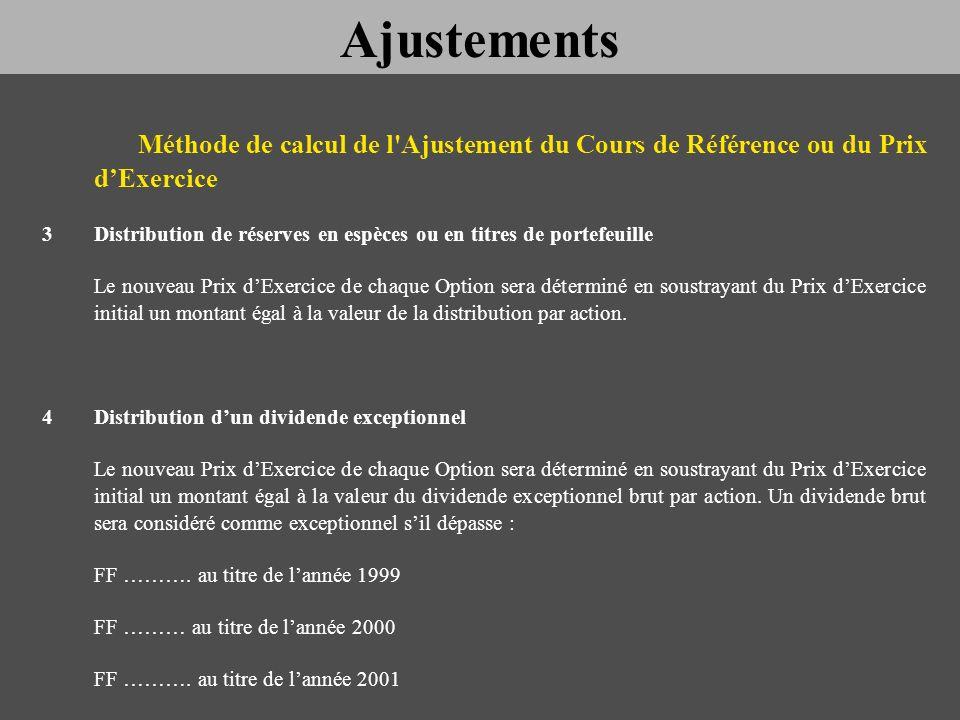 Méthode de calcul de l'Ajustement du Cours de Référence ou du Prix dExercice 3Distribution de réserves en espèces ou en titres de portefeuille Le nouv